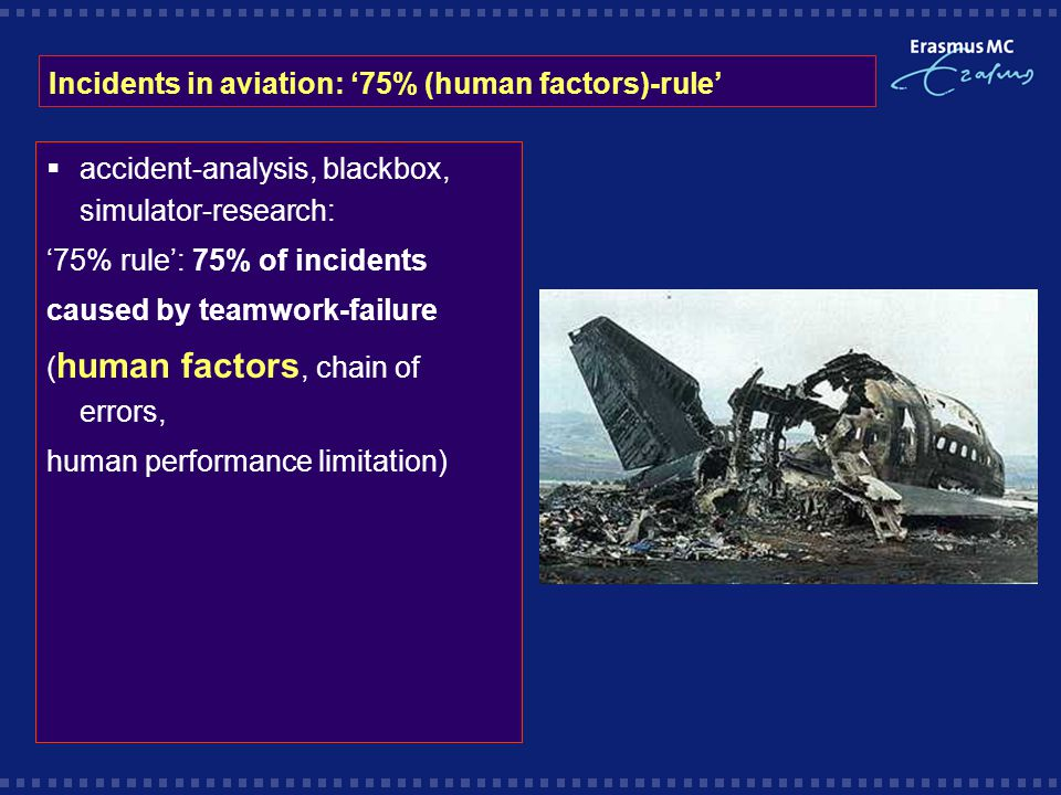 Incidents in aviation: '75% (human factors)-rule'  accident-analysis, blackbox, simulator-research: '75% rule': 75% of incidents caused by teamwork-failure ( human factors, chain of errors, human performance limitation)