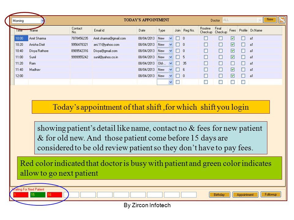 Today's appointment of that shift,for which shift you login showing patient's detail like name, contact no & fees for new patient & for old new. And t