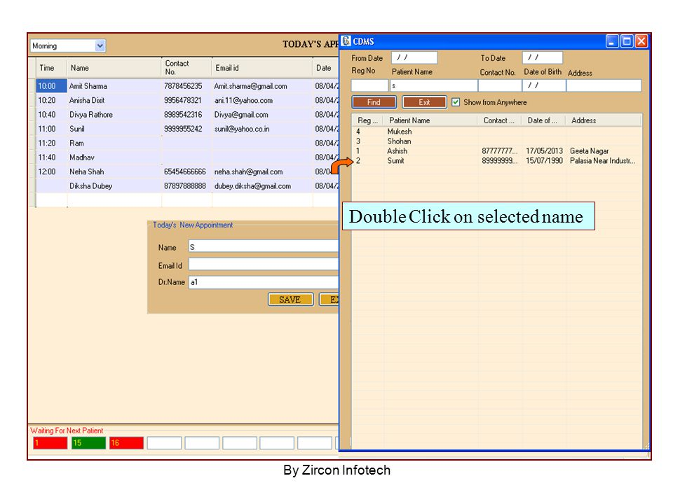 By Zircon Infotech Double Click on selected name