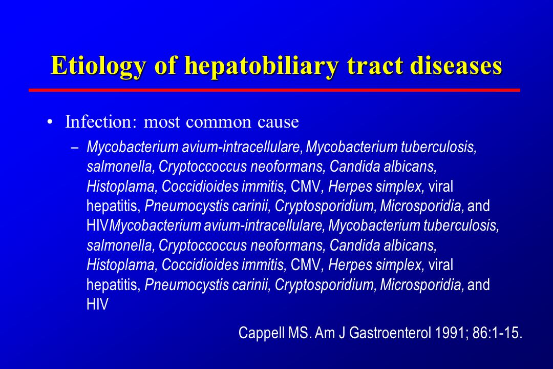 Etiology of hepatobiliary tract diseases InfectionInfection DrugsDrugs MalignancyMalignancy
