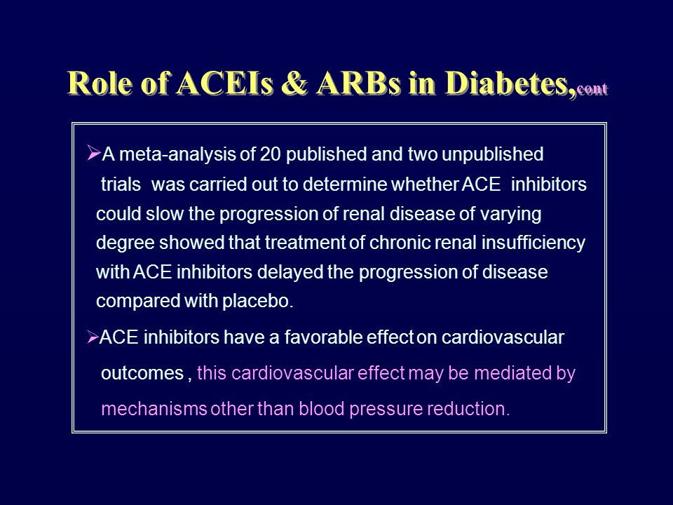  A meta-analysis of 20 published and two unpublished trials was carried out to determine whether ACE inhibitors could slow the progression of renal d