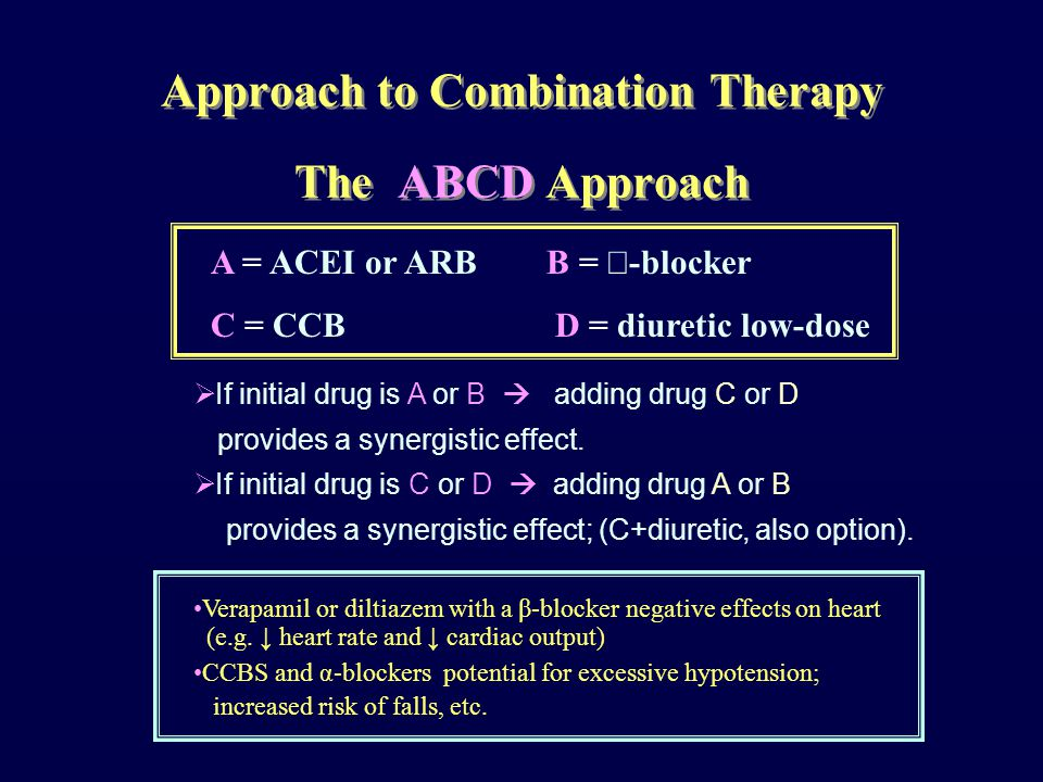 Approach to Combination Therapy The ABCD Approach A = ACEI or ARB B =  -blocker C = CCB D = diuretic low-dose  If initial drug is A or B  adding drug C or D provides a synergistic effect.