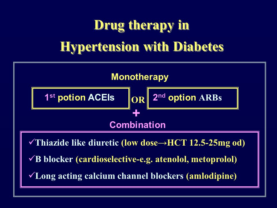 Thiazide like diuretic (low dose→HCT 12.5-25mg od) B blocker (cardioselective-e.g.
