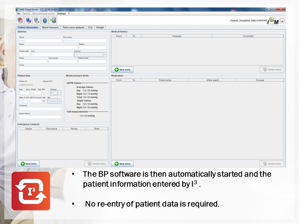 The correct test settings for that particular patient are then selected and sent to the BP recorder.