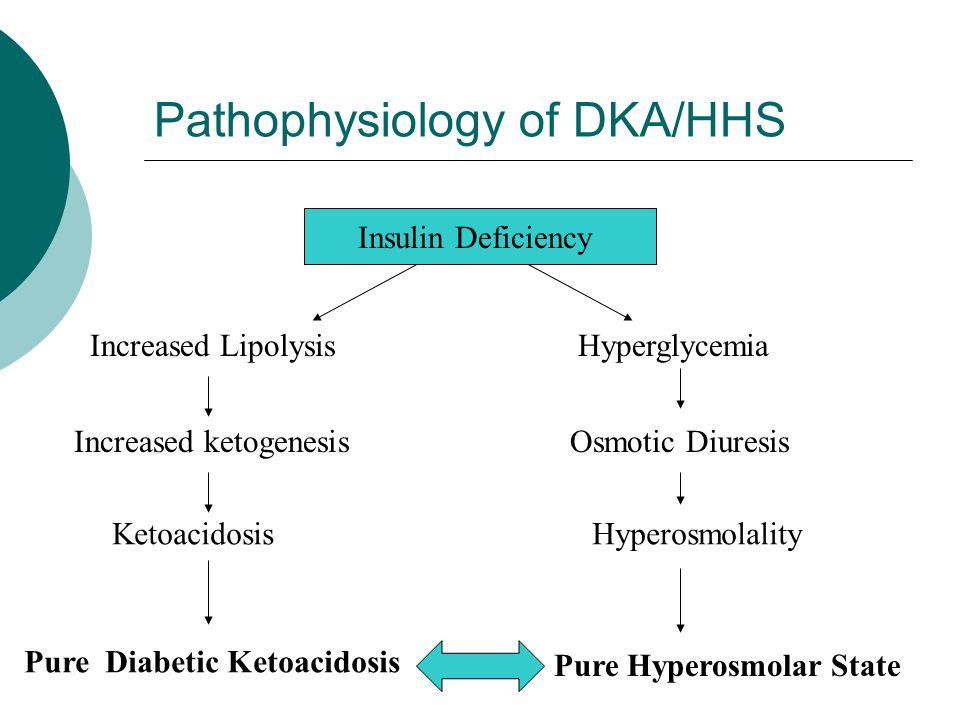 Pathophysiology of DKA/HHS Insulin Deficiency Increased LipolysisHyperglycemia Increased ketogenesisOsmotic Diuresis KetoacidosisHyperosmolality Pure