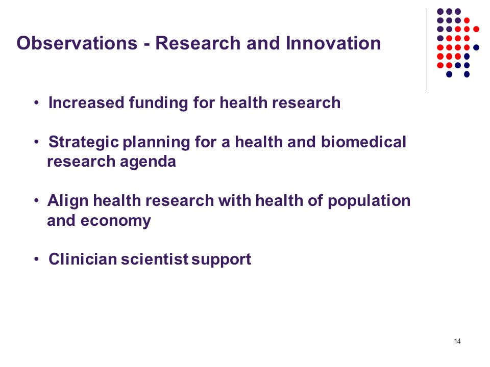 14 Observations - Research and Innovation Increased funding for health research Strategic planning for a health and biomedical research agenda Align health research with health of population and economy Clinician scientist support