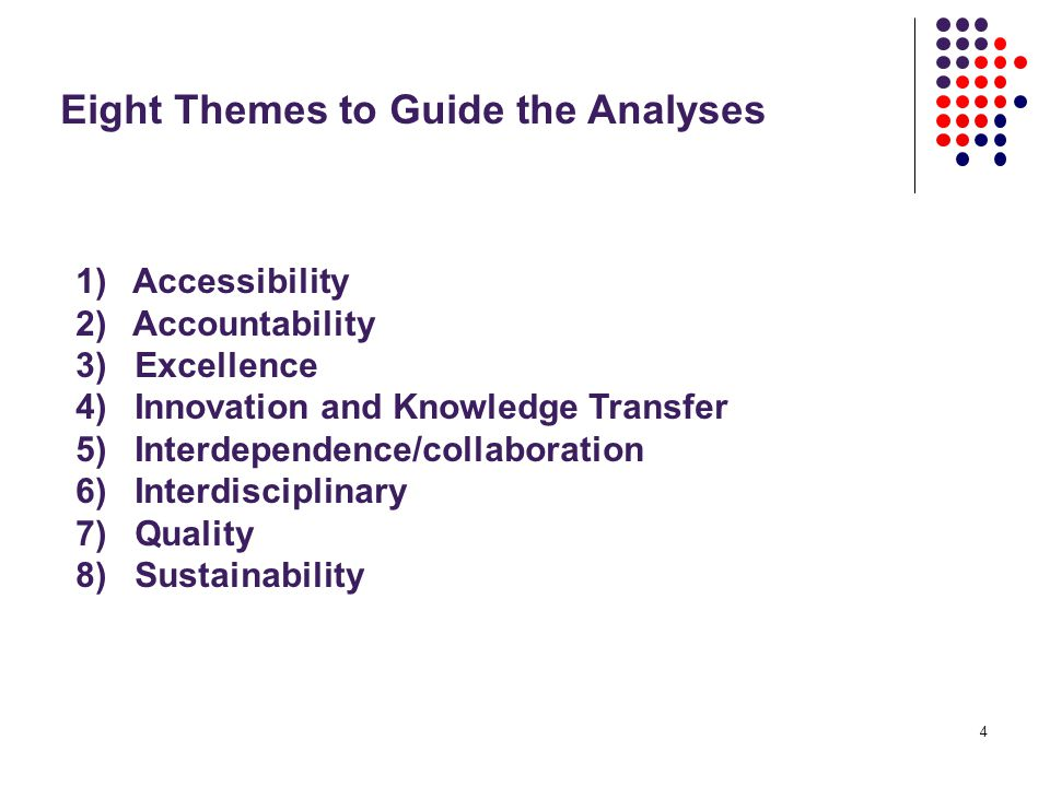4 Eight Themes to Guide the Analyses 1) Accessibility 2) Accountability 3) Excellence 4) Innovation and Knowledge Transfer 5) Interdependence/collaboration 6) Interdisciplinary 7) Quality 8) Sustainability