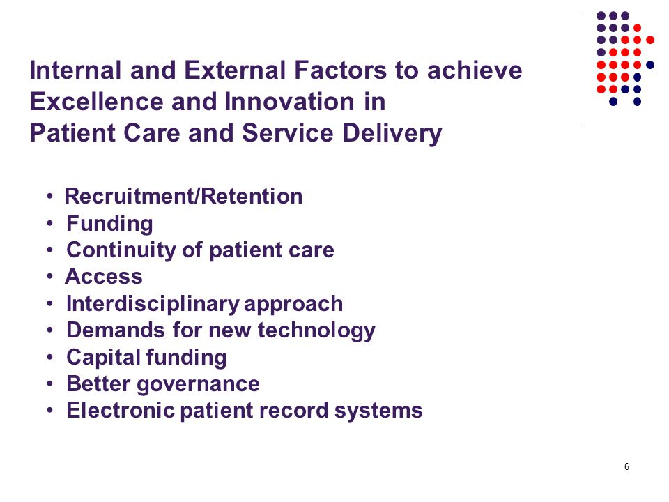 6 Internal and External Factors to achieve Excellence and Innovation in Patient Care and Service Delivery Recruitment/Retention Funding Continuity of patient care Access Interdisciplinary approach Demands for new technology Capital funding Better governance Electronic patient record systems