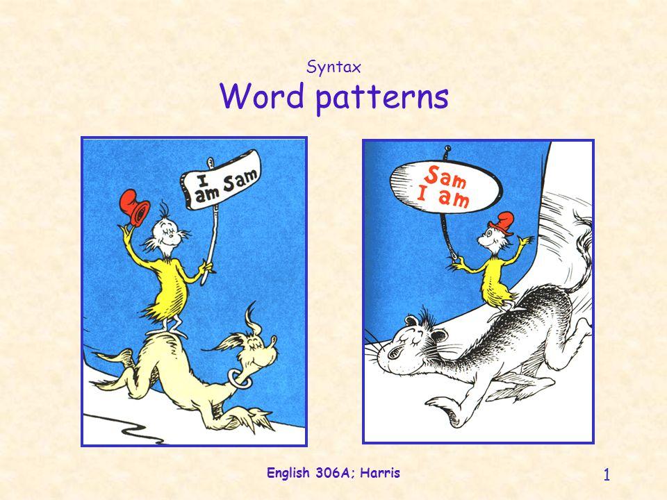 English 306A; Harris 52 Arguments and voice Semantic roles PatientAgentV2V2 Maggie bandages the cat.