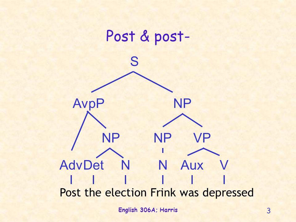 English 306A; Harris 4 Post & post- NVN NP VP S Marge has postpartum depression NP A AP postpartum NAf A