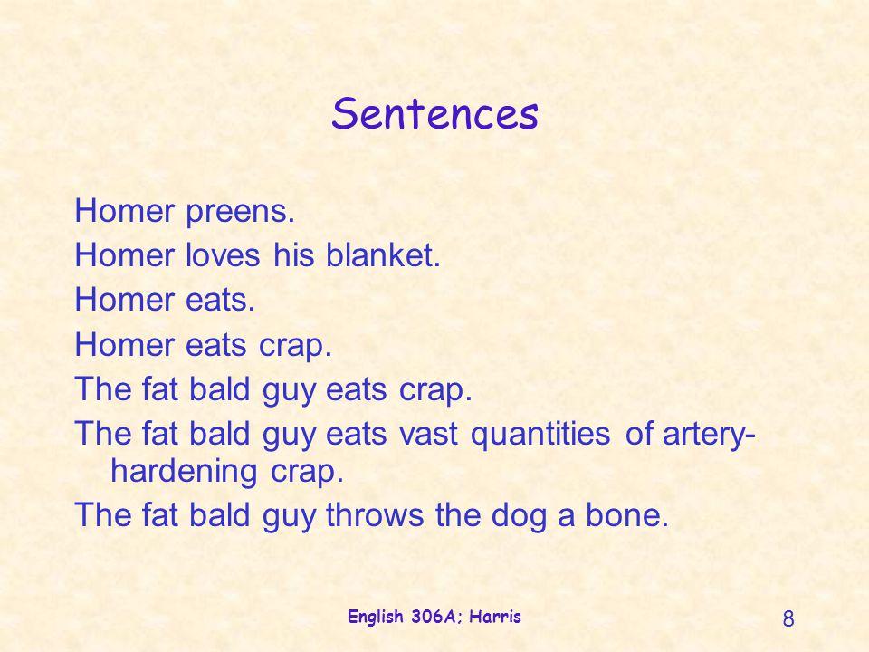 English 306A; Harris 9 Verbs Homer preens.Homer loves his blanket.
