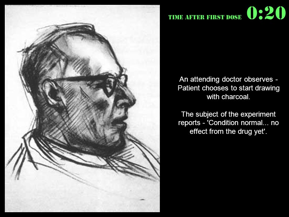 An attending doctor observes - Patient chooses to start drawing with charcoal.