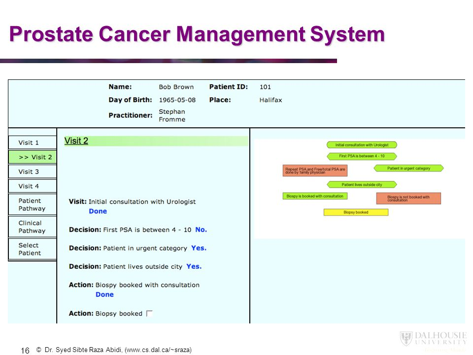 © Dr. Syed Sibte Raza Abidi, (www.cs.dal.ca/~sraza) Prostate Cancer Management System 16