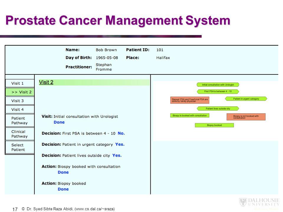 © Dr. Syed Sibte Raza Abidi, (www.cs.dal.ca/~sraza) Prostate Cancer Management System 17
