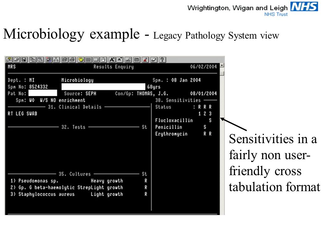 Microbiology example - Legacy Pathology System view Sensitivities in a fairly non user- friendly cross tabulation format