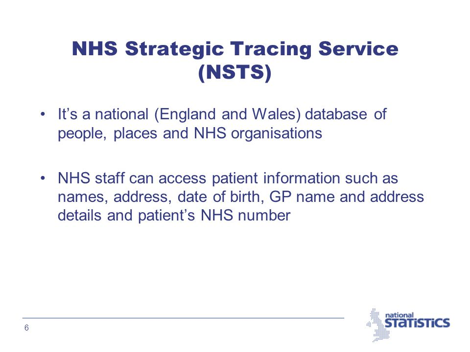 6 NHS Strategic Tracing Service (NSTS) It's a national (England and Wales) database of people, places and NHS organisations NHS staff can access patient information such as names, address, date of birth, GP name and address details and patient's NHS number