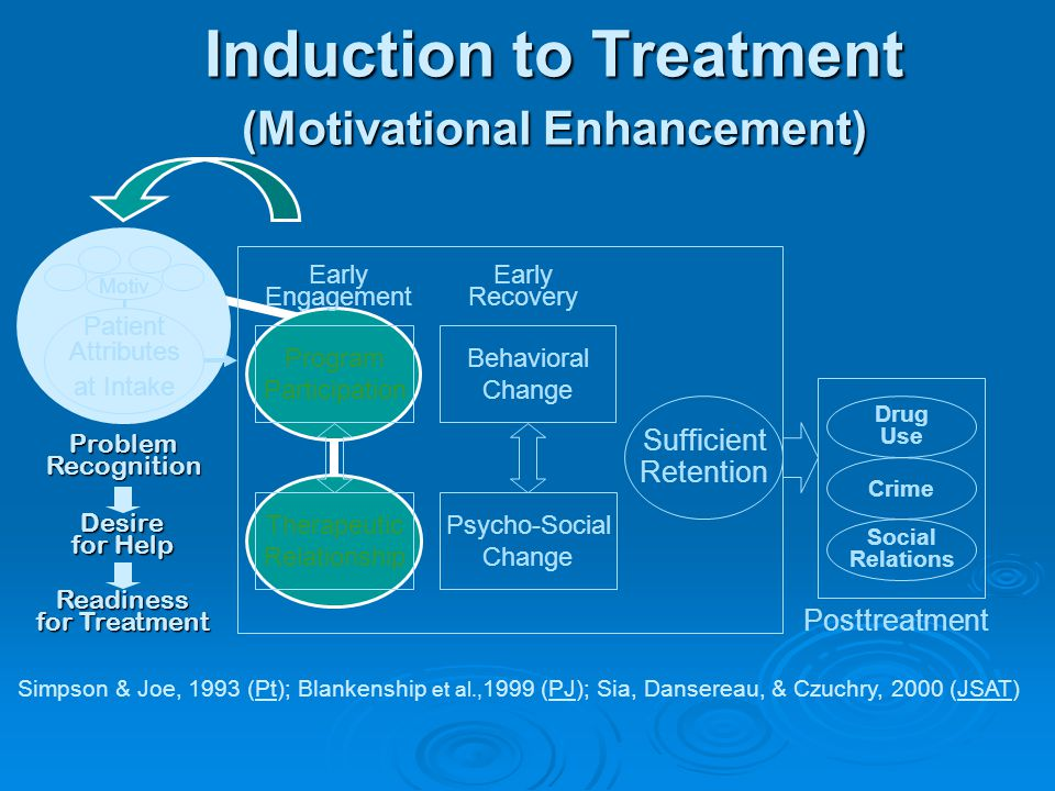 Sufficient Retention Early Engagement Early Recovery Posttreatment Drug Use Crime Social Relations Program Participation Therapeutic Relationship Behavioral Change Psycho-Social Change Patient Attributes at Intake Motiv Induction to Treatment (Motivational Enhancement) Simpson & Joe, 1993 (Pt); Blankenship et al., 1999 (PJ); Sia, Dansereau, & Czuchry, 2000 (JSAT) Problem Recognition Desire for Help Readiness for Treatment