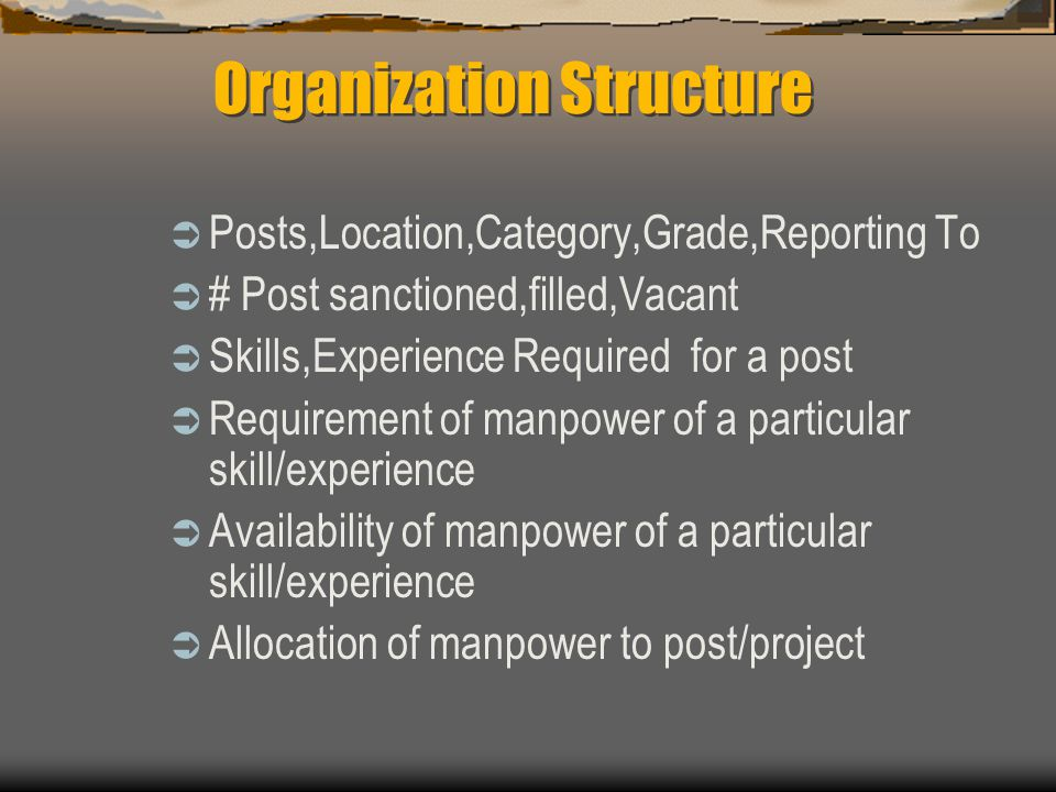  Posts,Location,Category,Grade,Reporting To  # Post sanctioned,filled,Vacant  Skills,Experience Required for a post  Requirement of manpower of a
