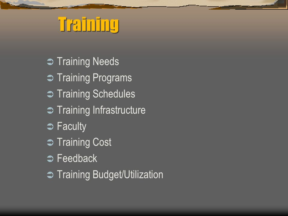  Training Needs  Training Programs  Training Schedules  Training Infrastructure  Faculty  Training Cost  Feedback  Training Budget/Utilization