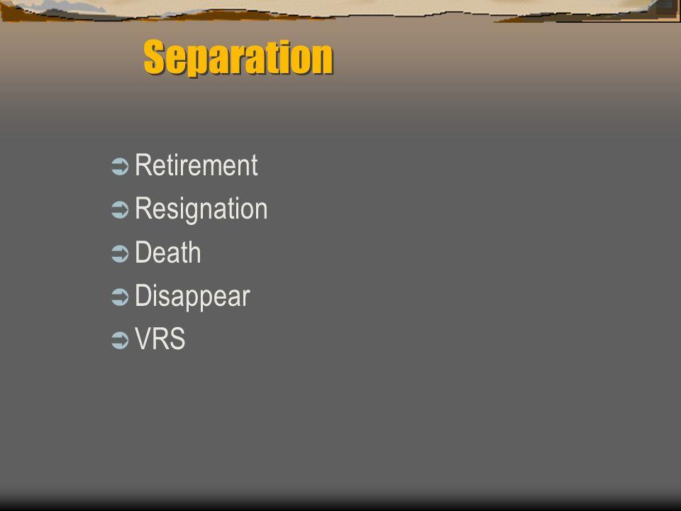  Retirement  Resignation  Death  Disappear  VRS Separation