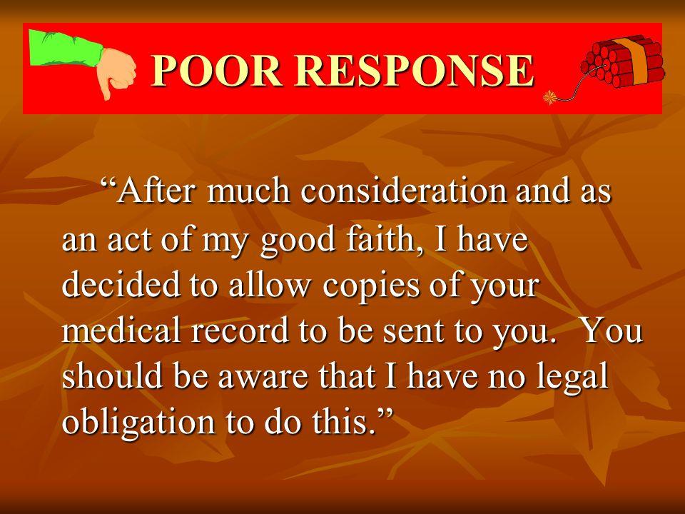POOR RESPONSE