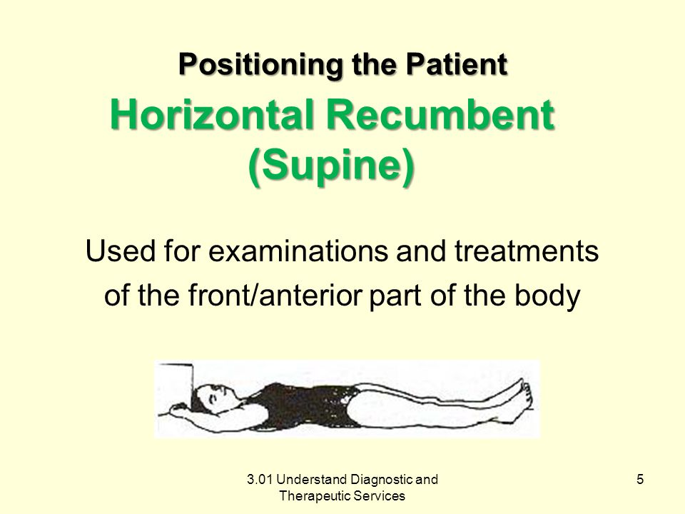 3.01 Understand Diagnostic and Therapeutic Services Horizontal Recumbent (Supine) Used for examinations and treatments of the front/anterior part of the body 5 Positioning the Patient