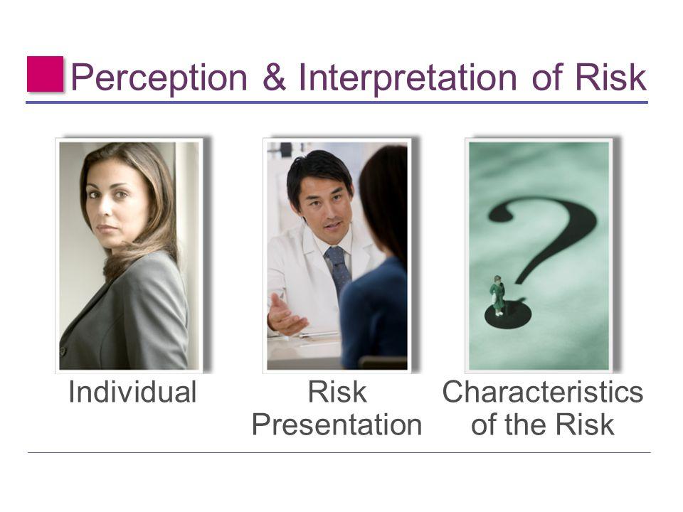 Perception & Interpretation of Risk IndividualRisk Presentation Characteristics of the Risk