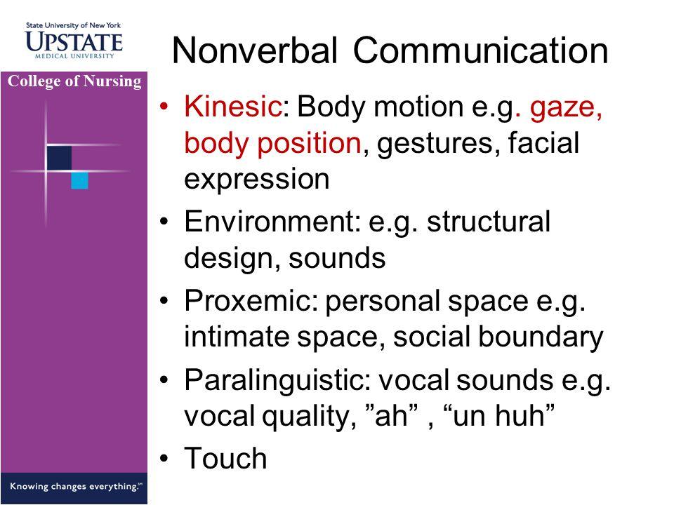 Nonverbal Communication Kinesic: Body motion e.g. gaze, body position, gestures, facial expression Environment: e.g. structural design, sounds Proxemi
