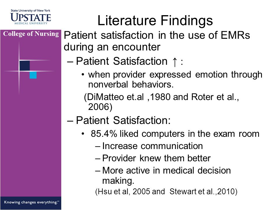 Literature Findings Patient satisfaction in the use of EMRs during an encounter –Patient Satisfaction ↑ : when provider expressed emotion through nonverbal behaviors.