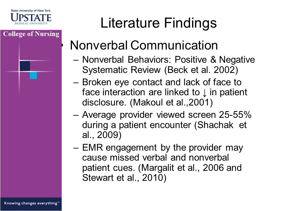 Literature Findings Nonverbal Communication –Nonverbal Behaviors: Positive & Negative Systematic Review (Beck et al.