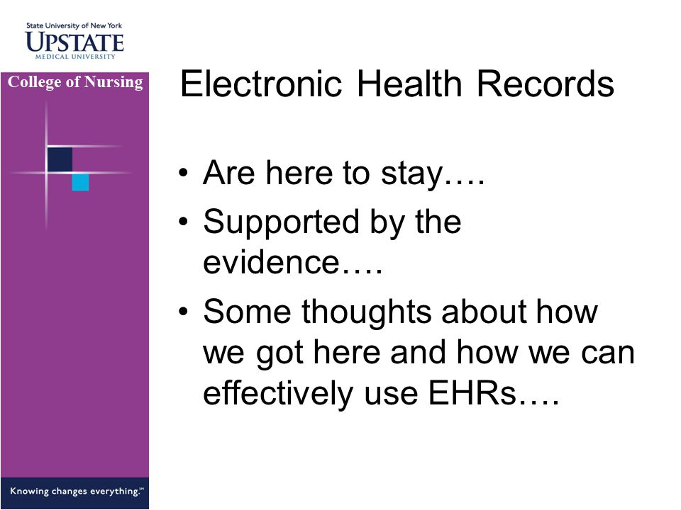 Electronic Health Records Are here to stay….Supported by the evidence….