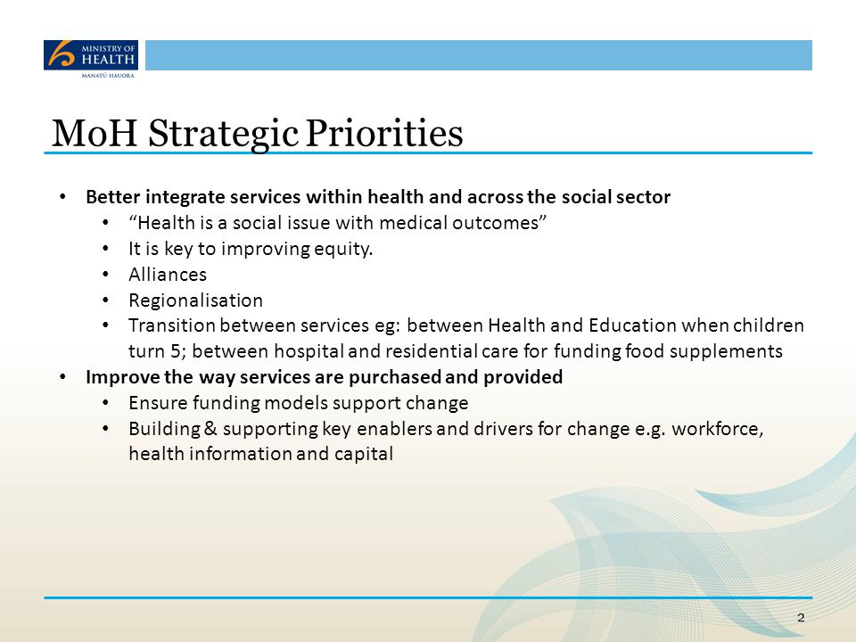 MoH Strategic Priorities Lift quality and performance Driving performance through measuring and rewarding the right things to improve quality E.g.
