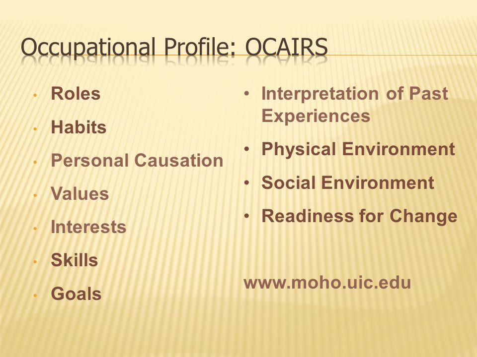 Roles Habits Personal Causation Values Interests Skills Goals Interpretation of Past Experiences Physical Environment Social Environment Readiness for Change www.moho.uic.edu