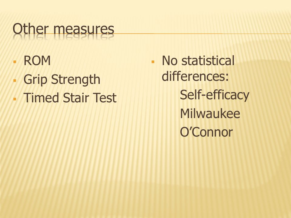  ROM  Grip Strength  Timed Stair Test  No statistical differences: Self-efficacy Milwaukee O'Connor