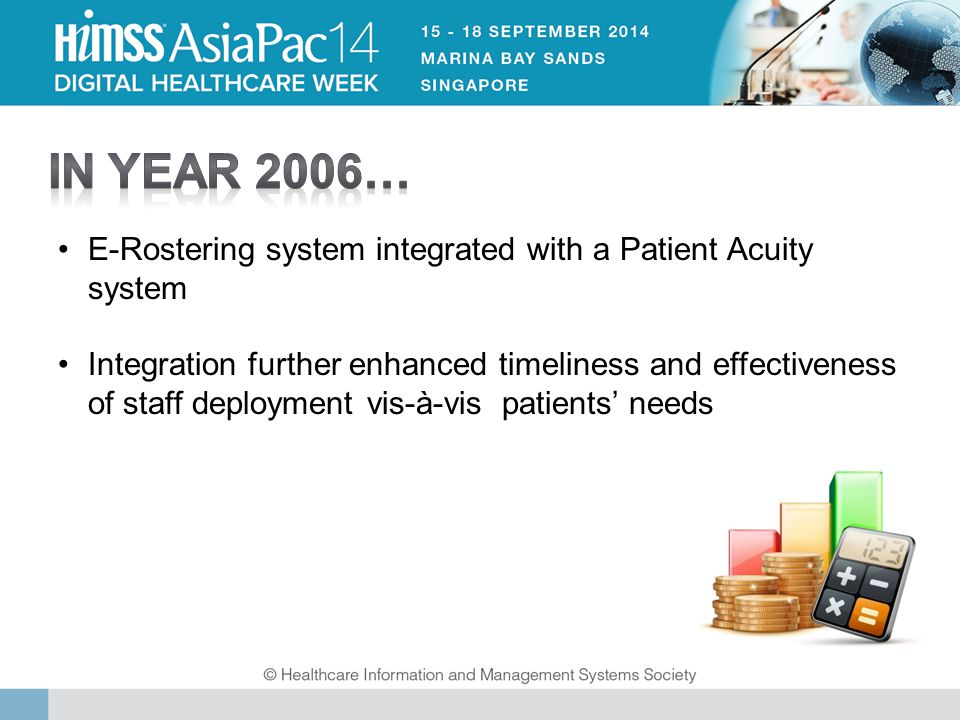 E-Rostering system integrated with a Patient Acuity system Integration further enhanced timeliness and effectiveness of staff deployment vis-à-vis patients' needs