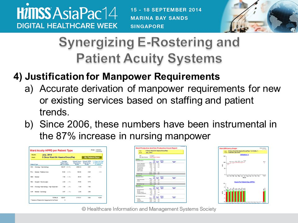 4) Justification for Manpower Requirements a)Accurate derivation of manpower requirements for new or existing services based on staffing and patient trends.