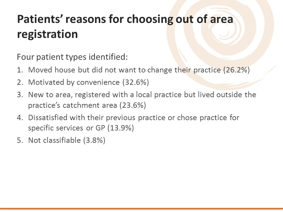 Patients' reasons for choosing out of area registration Four patient types identified: 1.Moved house but did not want to change their practice (26.2%) 2.Motivated by convenience (32.6%) 3.New to area, registered with a local practice but lived outside the practice's catchment area (23.6%) 4.Dissatisfied with their previous practice or chose practice for specific services or GP (13.9%) 5.Not classifiable (3.8%)