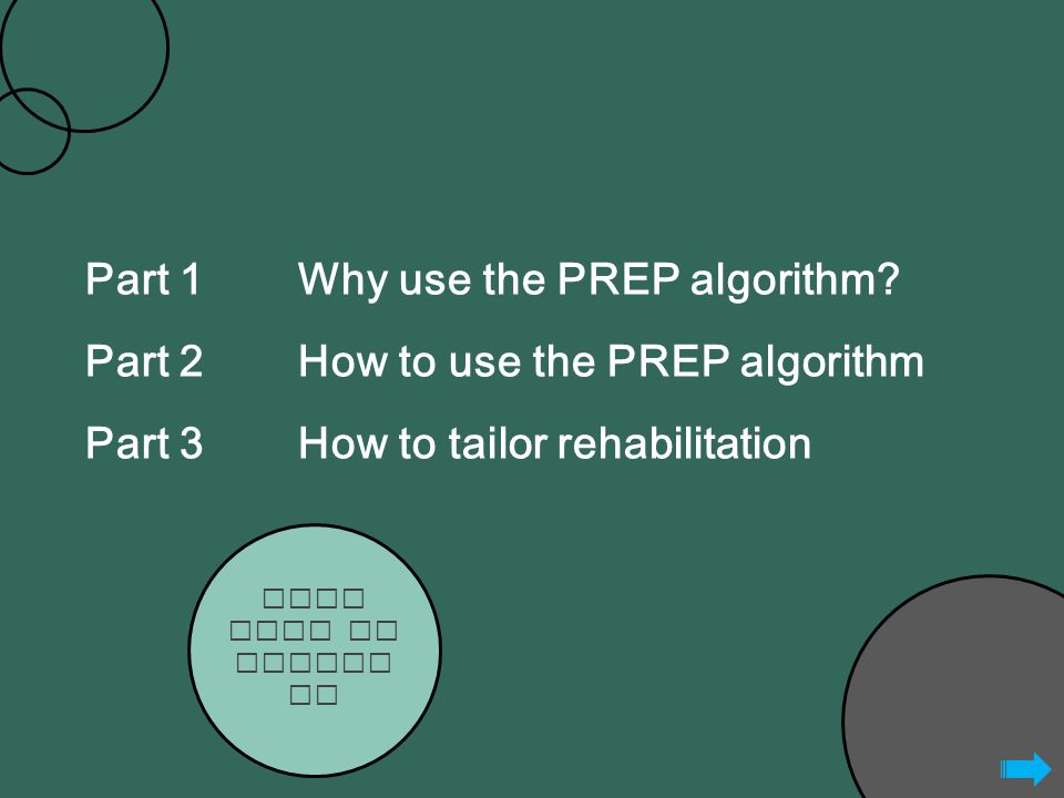 Part 1Why use the PREP algorithm.