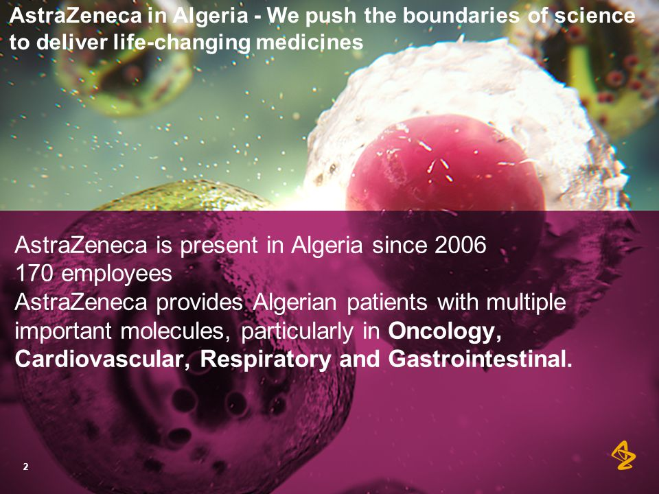 AstraZeneca as an active partner in developing people in Algeria: Our priorities  Patient support education  R&D capabilities  Local manufacturing and technology transfer  Health Care Professional skills  AstraZeneca Algeria as best place to work 3