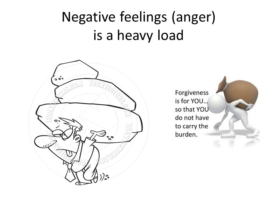 Negative feelings (anger) is a heavy load