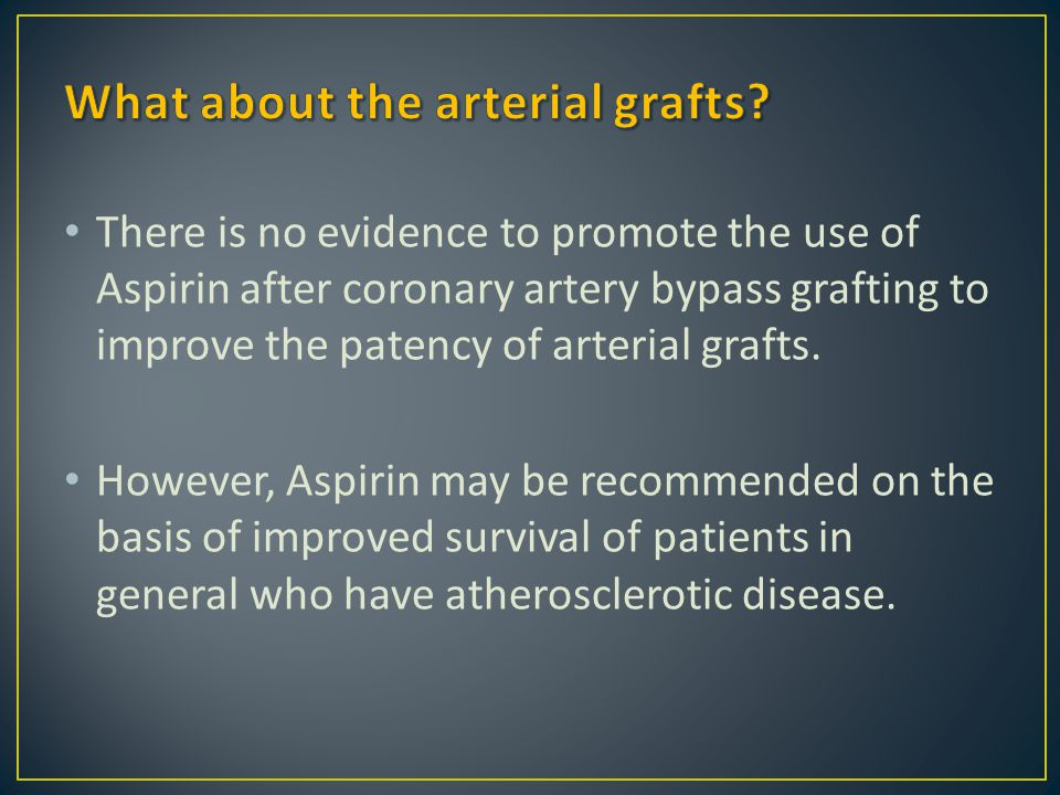 There is no evidence to promote the use of Aspirin after coronary artery bypass grafting to improve the patency of arterial grafts. However, Aspirin m