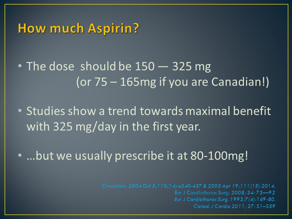 The dose should be 150 — 325 mg (or 75 – 165mg if you are Canadian!) Studies show a trend towards maximal benefit with 325 mg/day in the first year. …