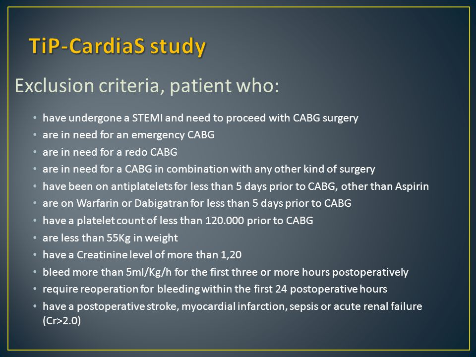 Exclusion criteria, patient who: have undergone a STEMI and need to proceed with CABG surgery are in need for an emergency CABG are in need for a redo