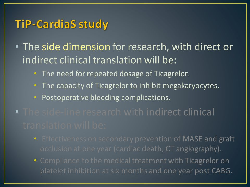 The side dimension for research, with direct or indirect clinical translation will be: The need for repeated dosage of Ticagrelor. The capacity of Tic