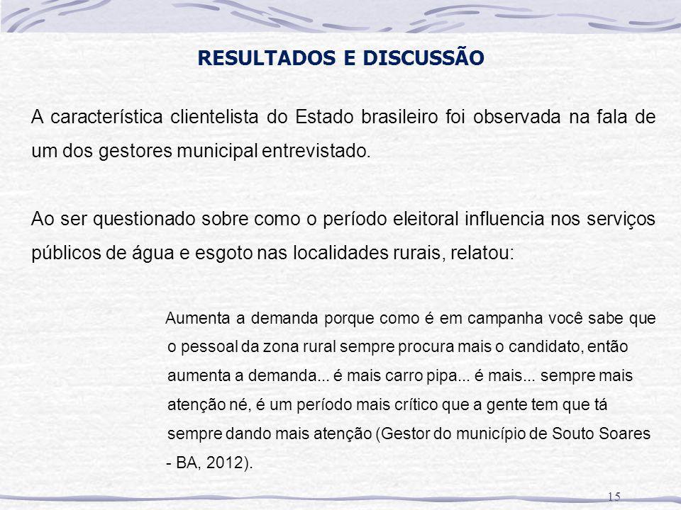RESULTADOS E DISCUSSÃO A característica clientelista do Estado brasileiro foi observada na fala de um dos gestores municipal entrevistado. Ao ser ques