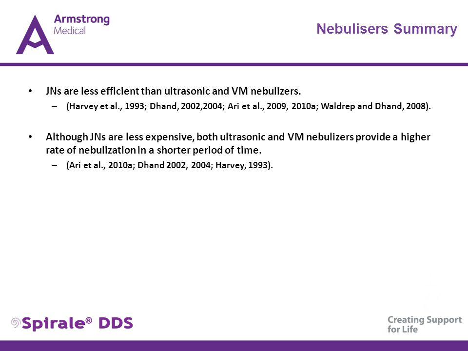 Nebulisers Summary JNs are less efficient than ultrasonic and VM nebulizers.