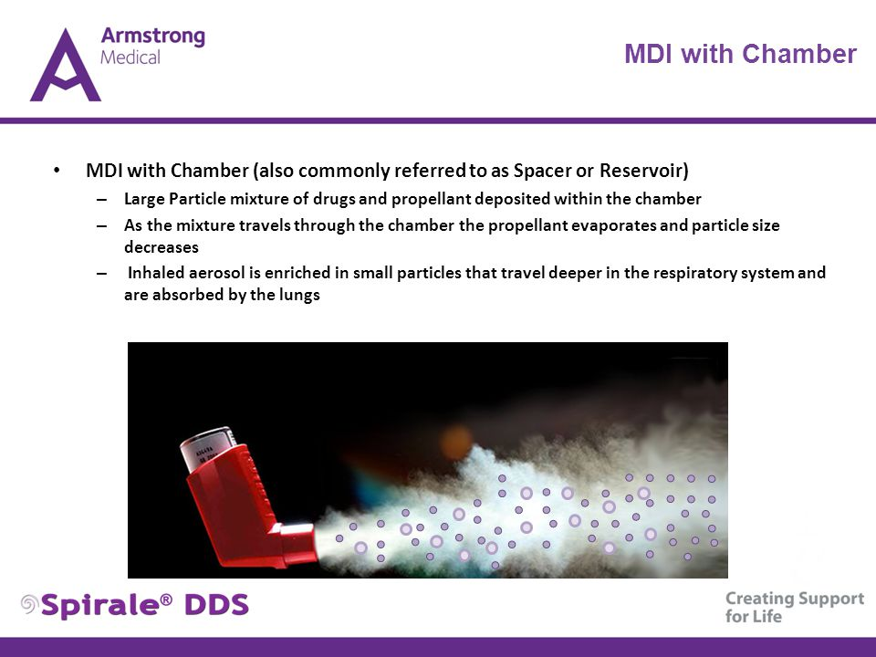 MDI with Chamber (also commonly referred to as Spacer or Reservoir) – Large Particle mixture of drugs and propellant deposited within the chamber – As