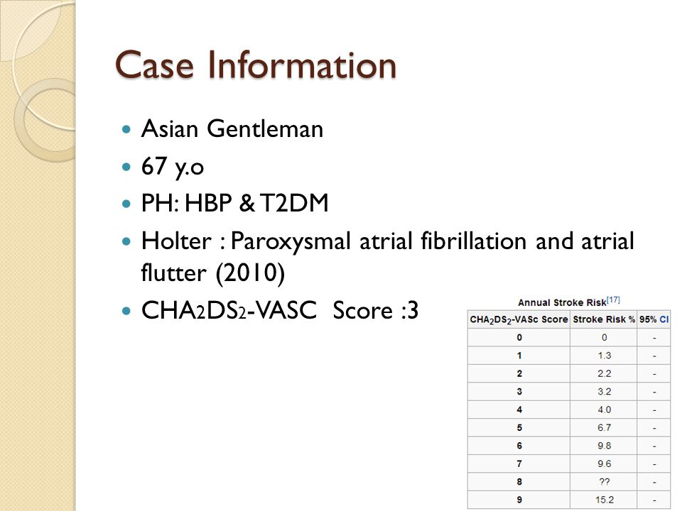 Case Information Asian Gentleman 67 y.o PH: HBP & T2DM Holter : Paroxysmal atrial fibrillation and atrial flutter (2010) CHA 2 DS 2 -VASC Score :3