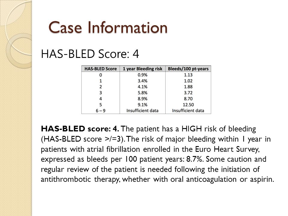 Case Information HAS-BLED Score: 4 HAS-BLED score: 4. The patient has a HIGH risk of bleeding (HAS-BLED score >/=3). The risk of major bleeding within