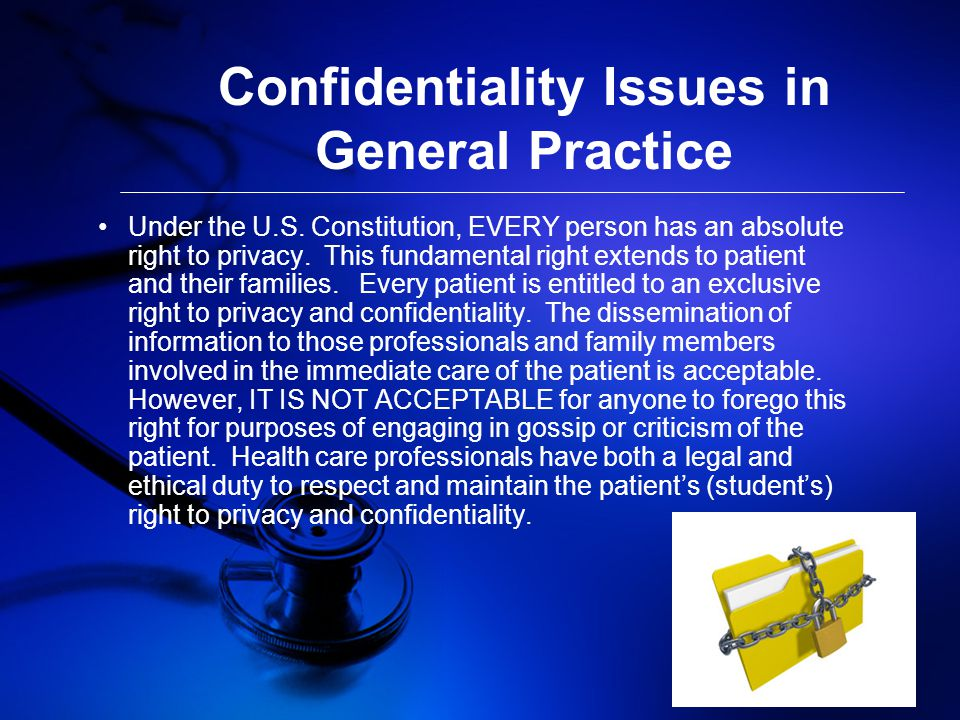 Confidentiality Issues in General Practice Under the U.S.